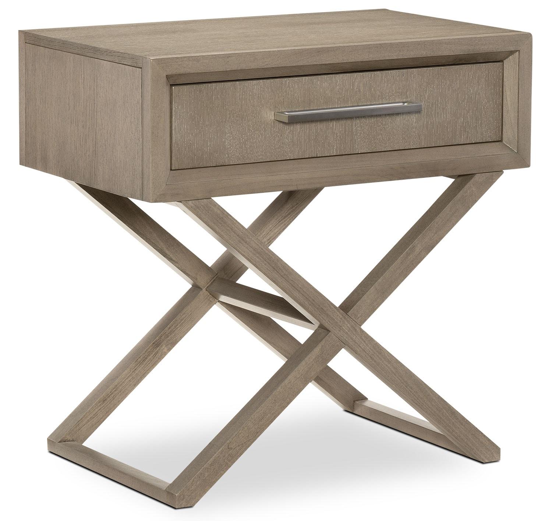 Bedroom Furniture - Rachael Ray Highline 1-Drawer Night Table - Greige