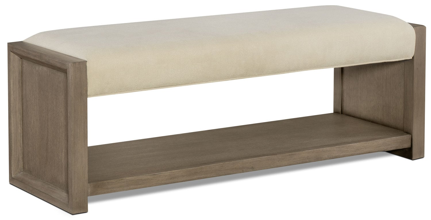 Bedroom Furniture - Rachael Ray Highline Bed Bench - Greige