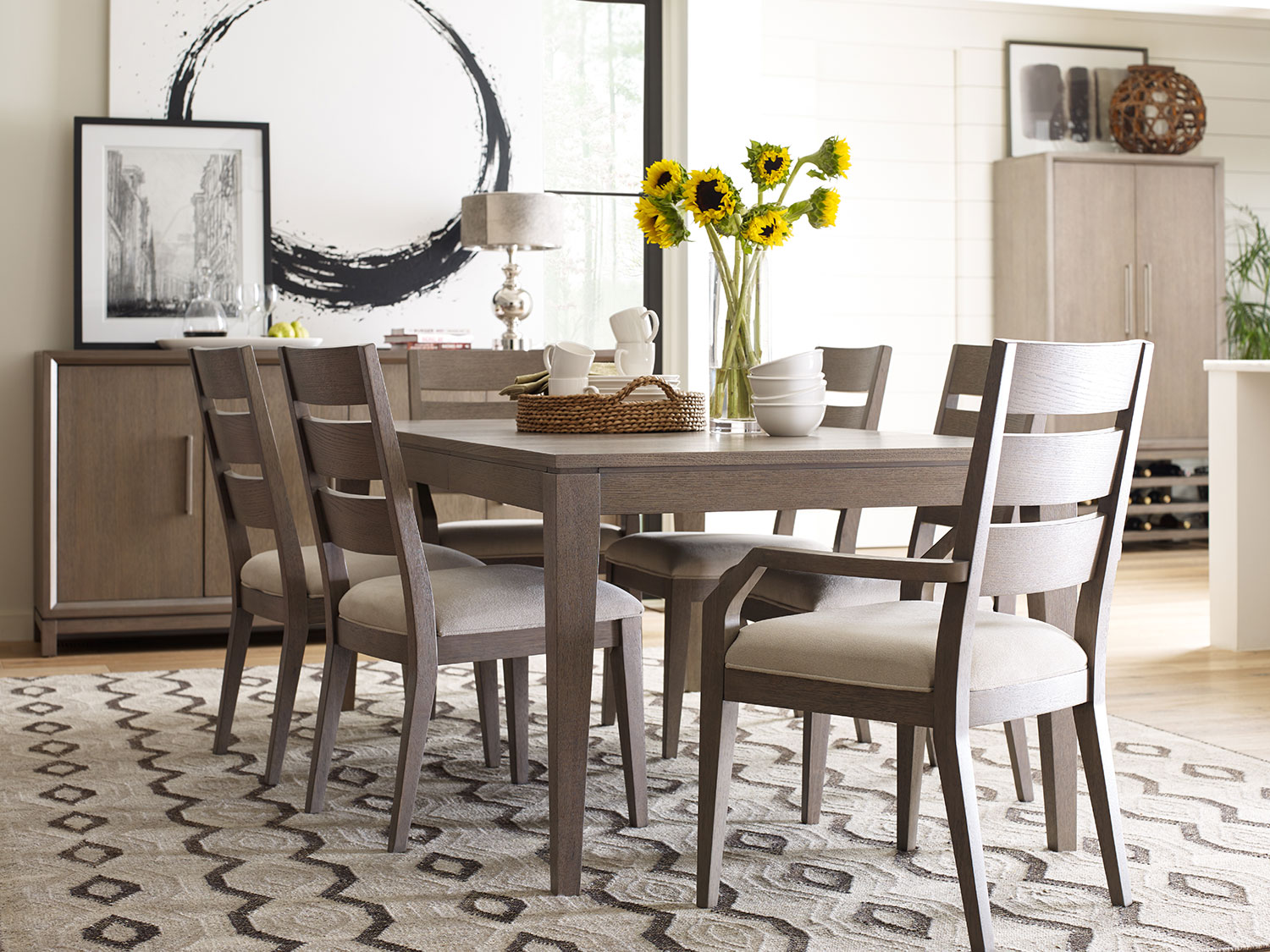 The rachael ray highline dining room collection greige for Dining room collections