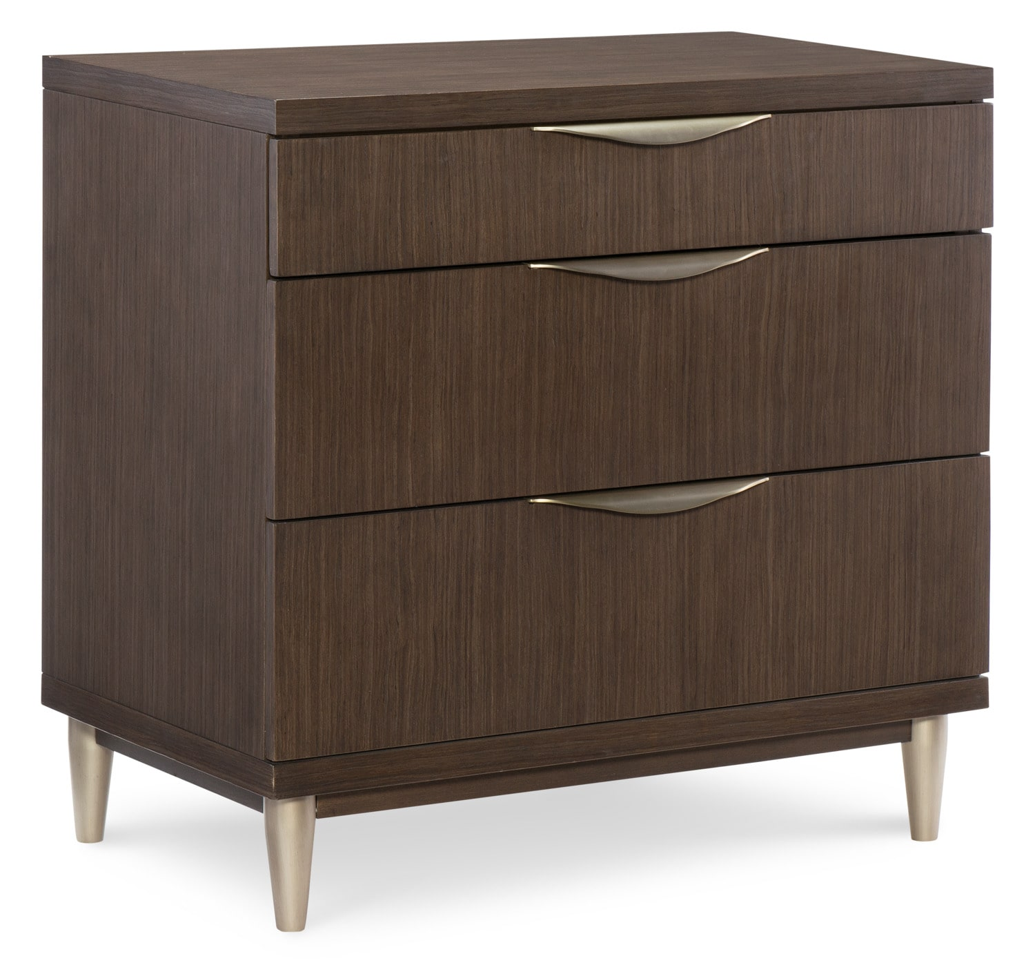 Bedroom Furniture - Rachael Ray Soho 3-Drawer Nightstand - Ash Brown
