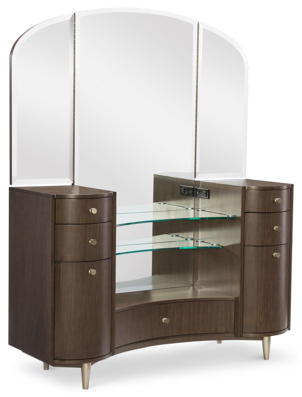 Bedroom Furniture - Rachael Ray Soho Vanity Desk and Mirror Set - Ash Brown