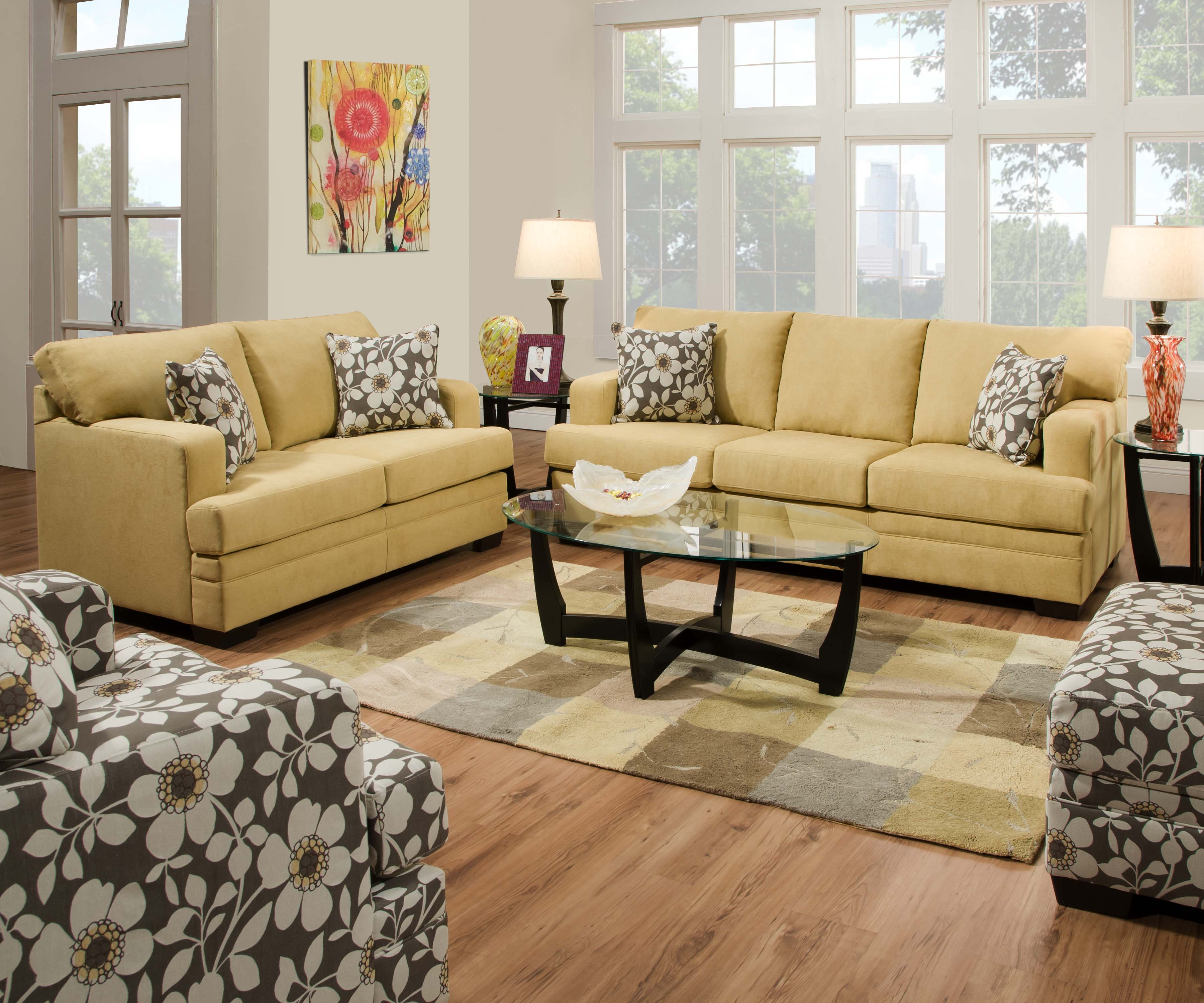 Living room furniture pellis 3 piece living room set cornsilk