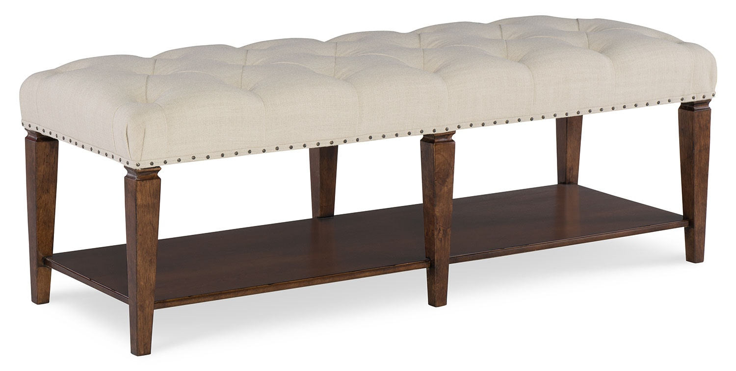 Bedroom Furniture - Rachael Ray Upstate Upholstered Bed Bench - Conciare Cherry