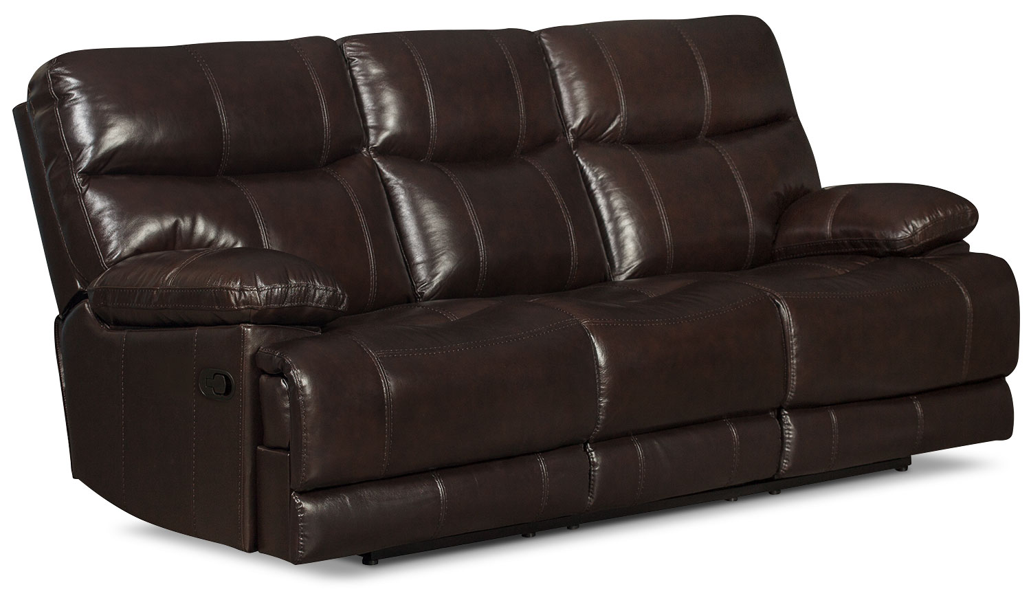 Gavin Genuine Leather Reclining Sofa – Brown