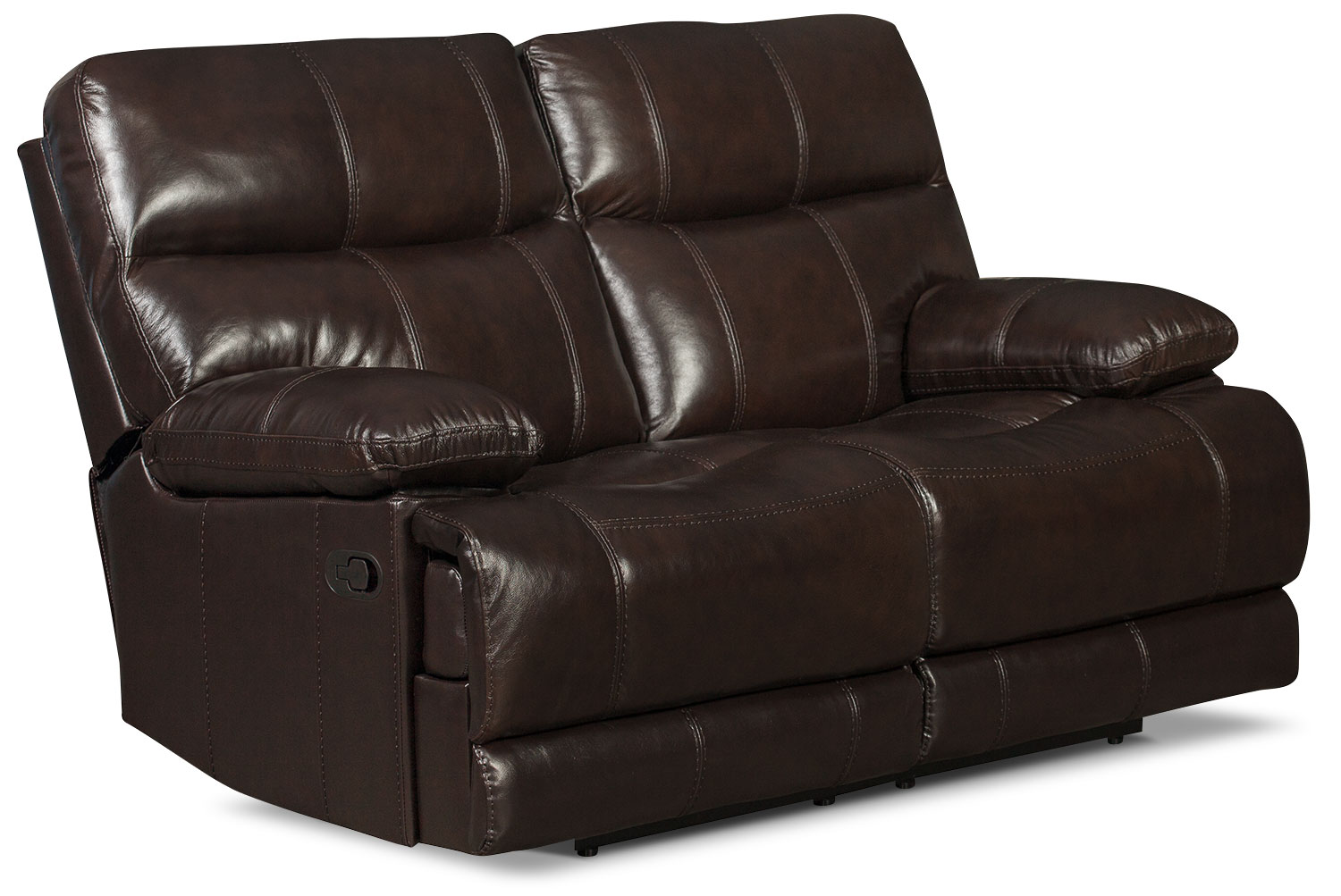 Living Room Furniture - Gavin Genuine Leather Reclining Loveseat – Brown