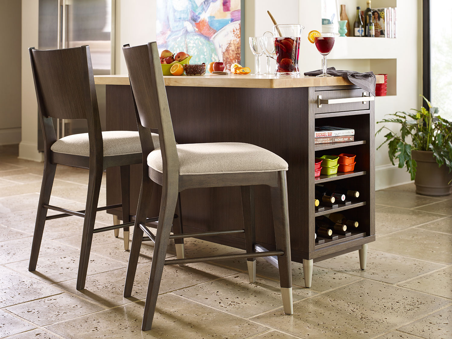 Rachael Ray Soho Kitchen Island w/ a stool - Ash Brown