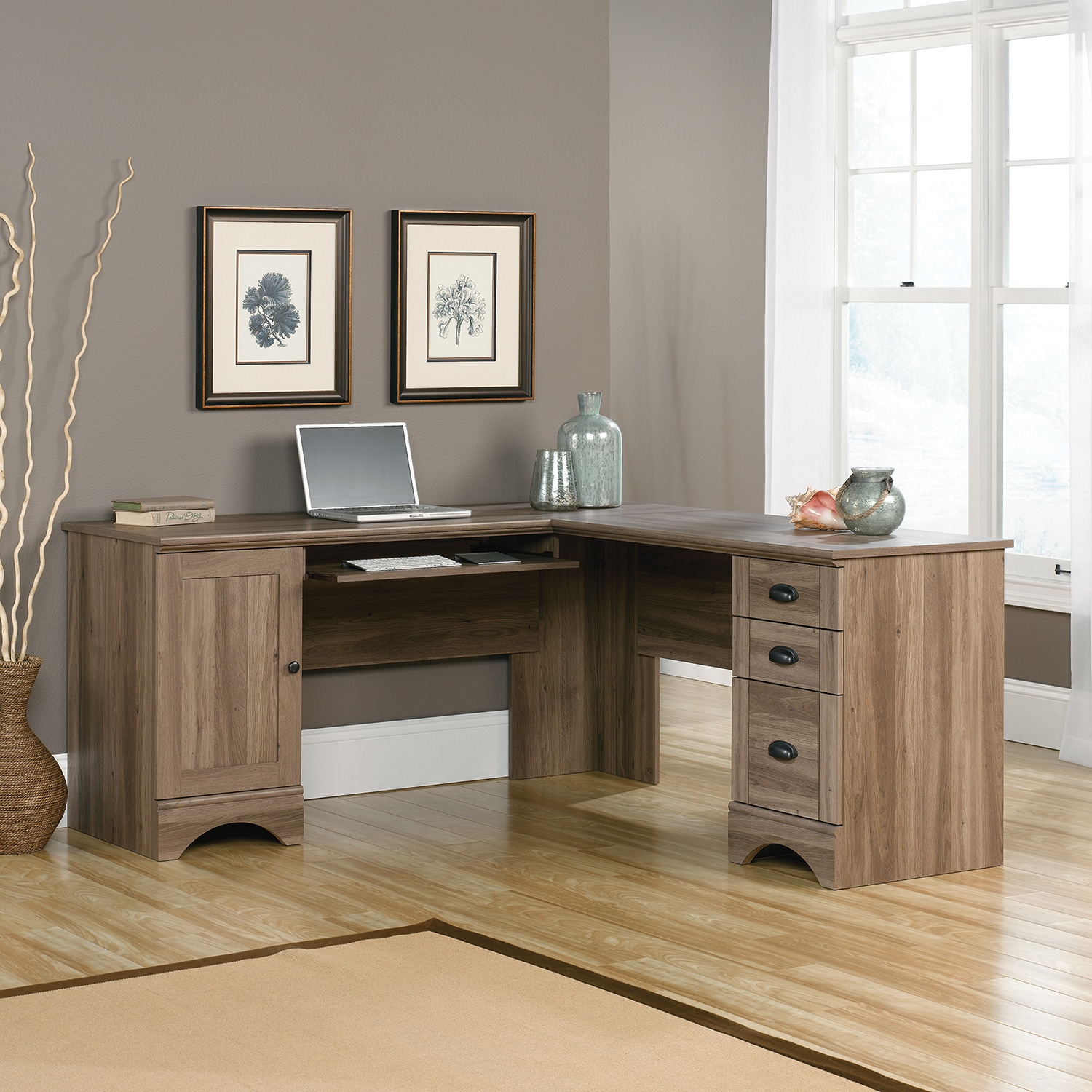 Harbor view corner desk salt oak the brick Show home furniture hours