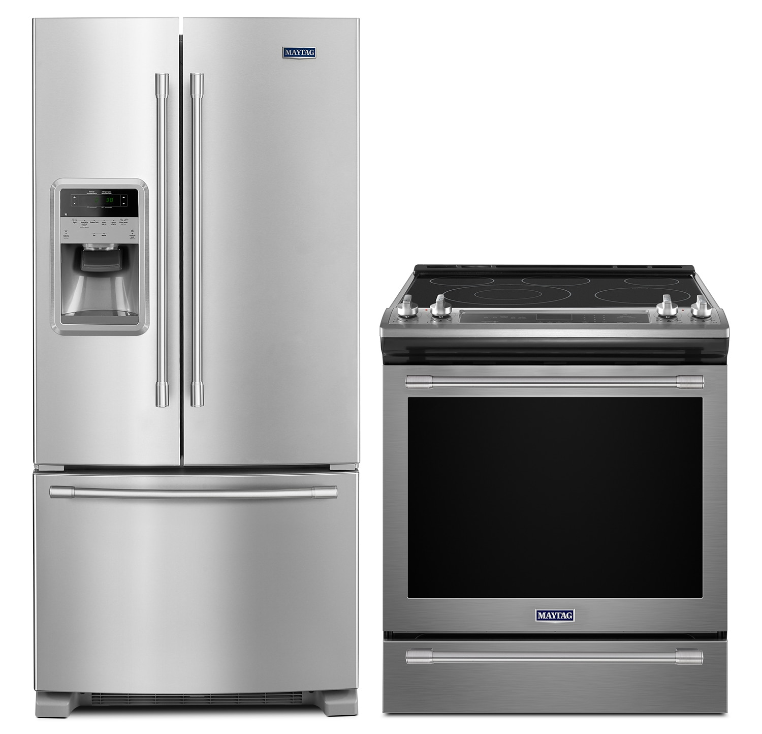 Refrigerators and Freezers - Maytag 22 Cu. Ft. French-Door Refrigerator and 6.4 Cu. Ft. Slide-In Electric Range
