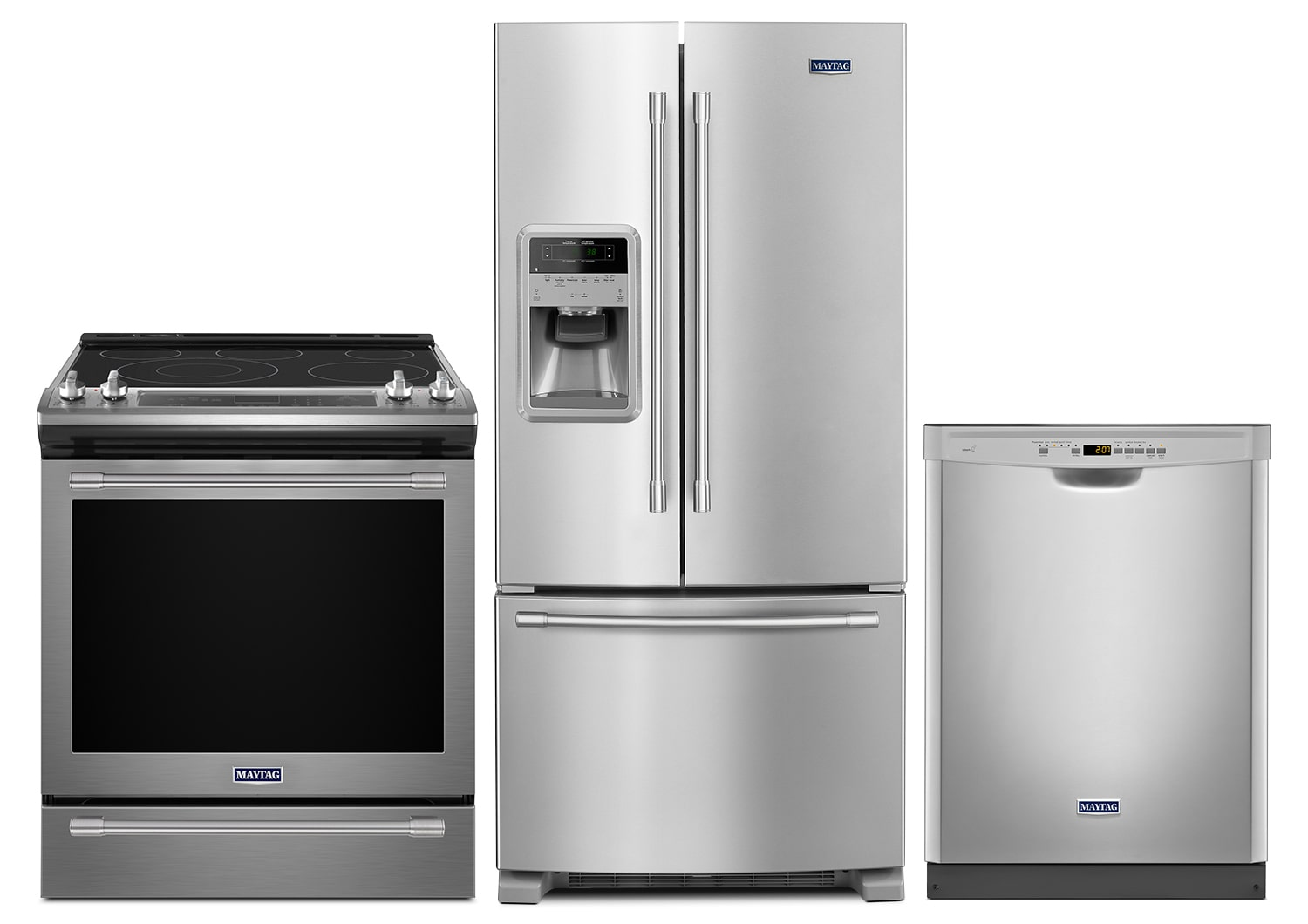 Clean-Up - Maytag 22 Cu. Ft. French-Door Refrigerator, 6.4 Cu. Ft. Electric Range and Built-In Dishwasher