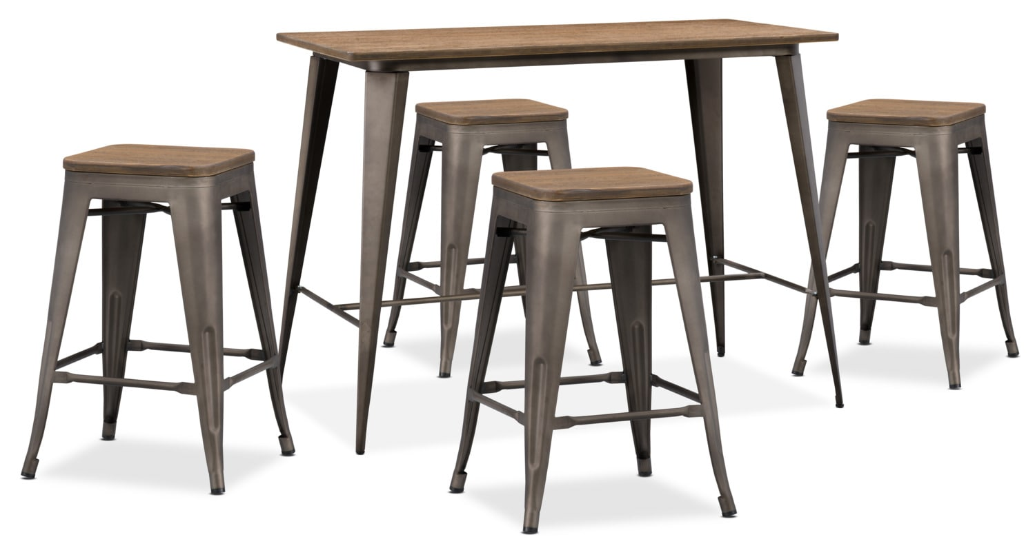 Dining Room Furniture - Peyton 5-Piece Counter-Height Dining Table