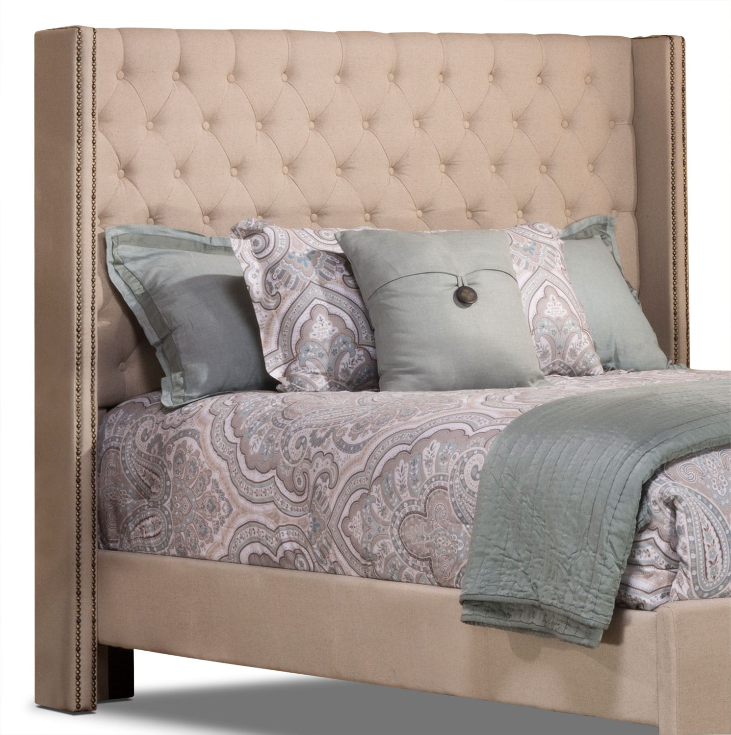 Bedroom Furniture - Mayfield Linen-Like King Headboard – Cream