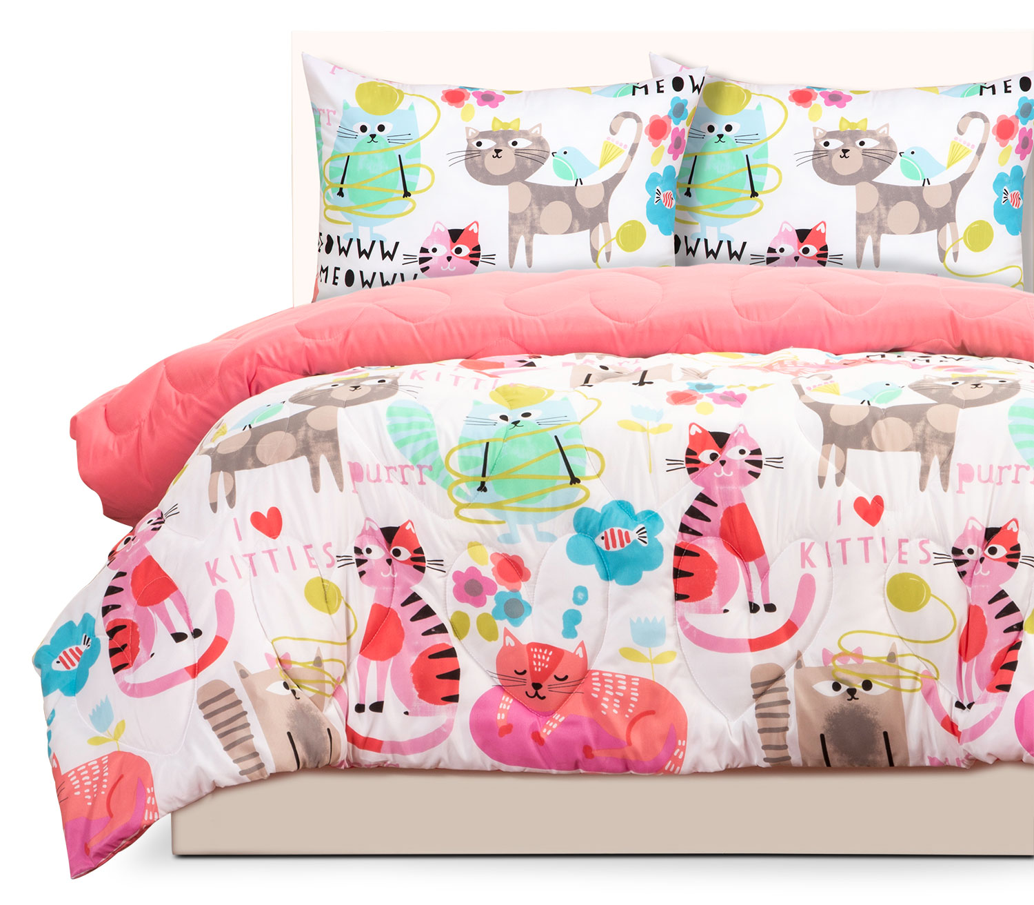 Mattresses and Bedding - Purrty Cat 3-Piece Full Comforter Set