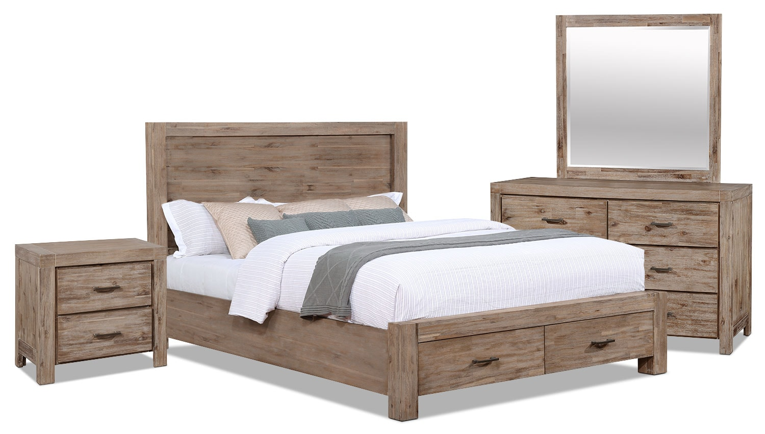 Acadia 6 piece king storage bedroom package the brick for Bedroom furniture package deals