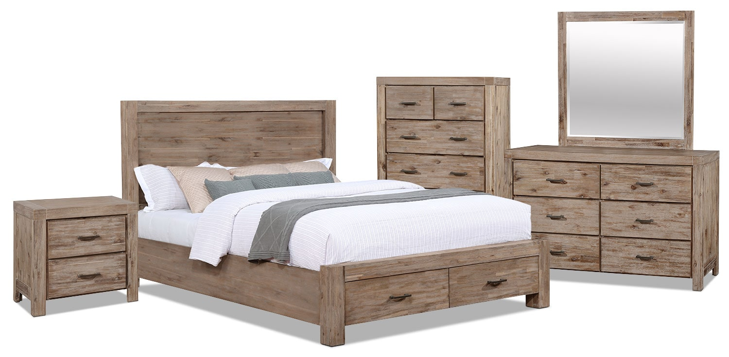 Acadia 7 piece king storage bedroom package the brick for Bedroom furniture package deals