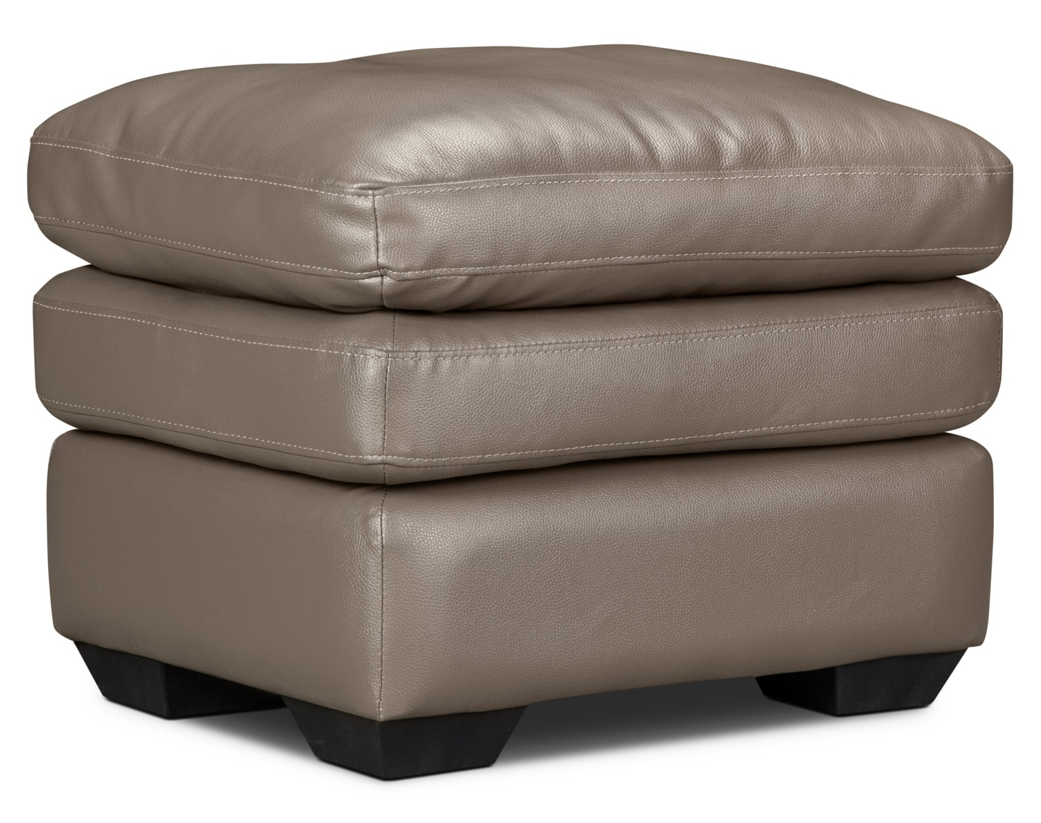 Marty Genuine Leather Ottoman – Dark Taupe