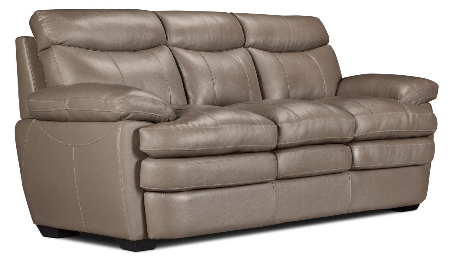 marty genuine leather sofa dark taupe united furniture warehouse. Black Bedroom Furniture Sets. Home Design Ideas