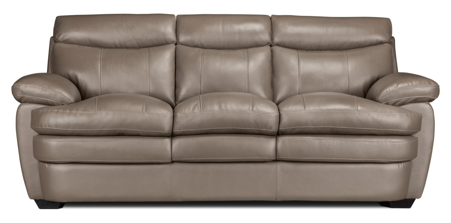 Marty Genuine Leather Sofa – Dark Taupe