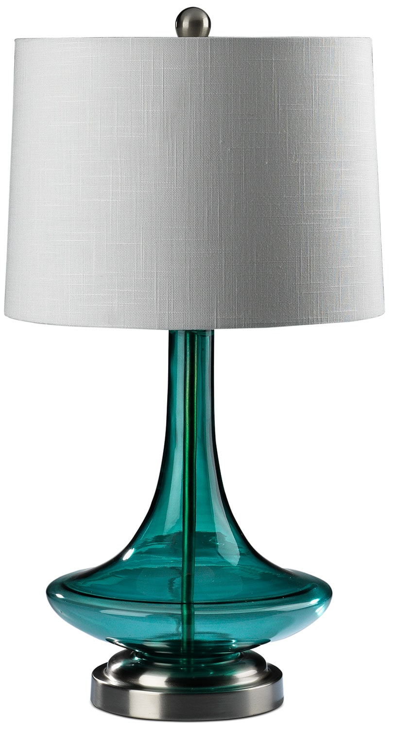 "Accent and Occasional Furniture - Jeanie 27"" Table Lamp - Blue Glass"