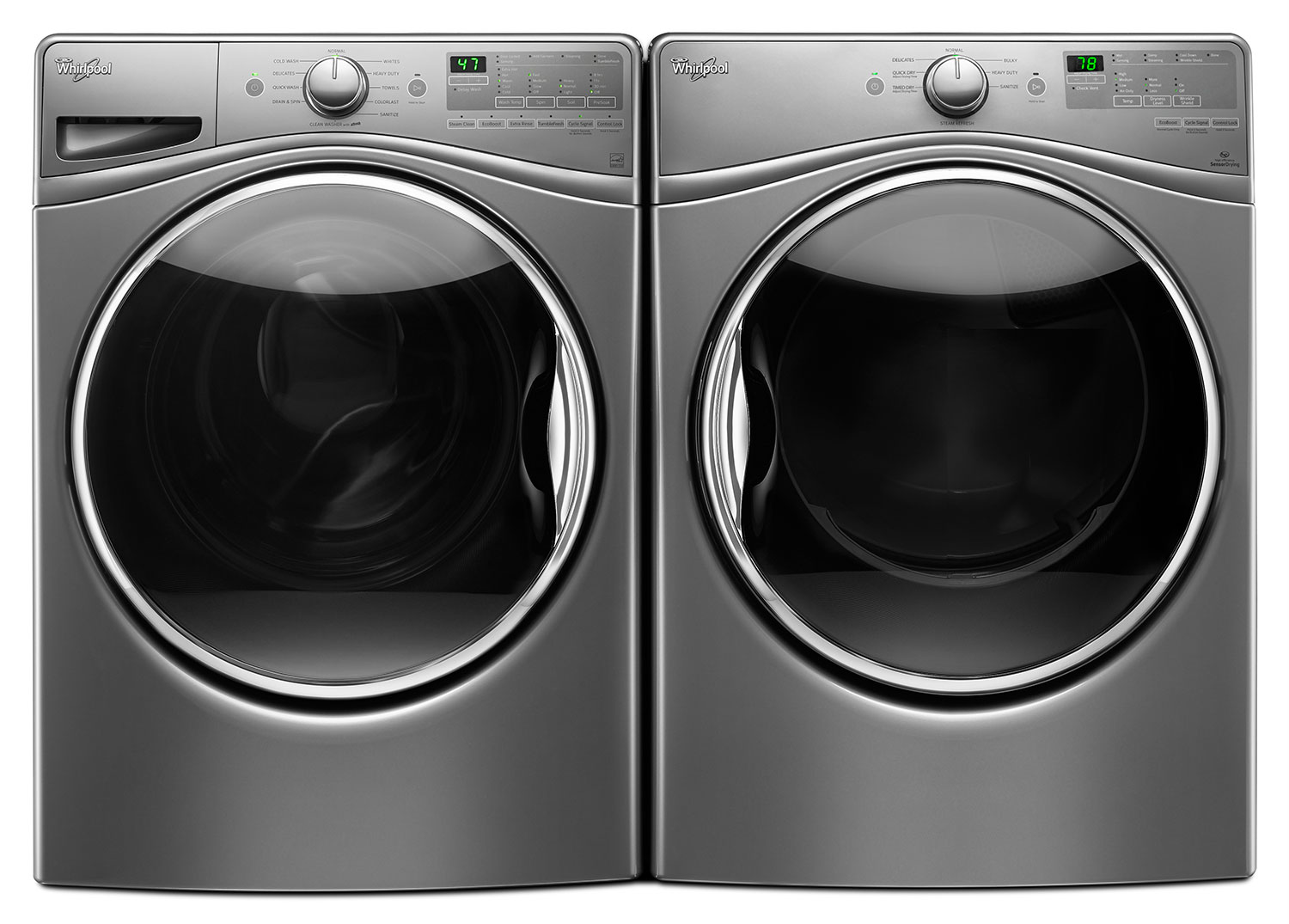 Whirlpool 5.2 Cu. Ft. Front-Load Washer and 8.5 Cu. Ft. Gas Steam Dryer – Stainless Steel