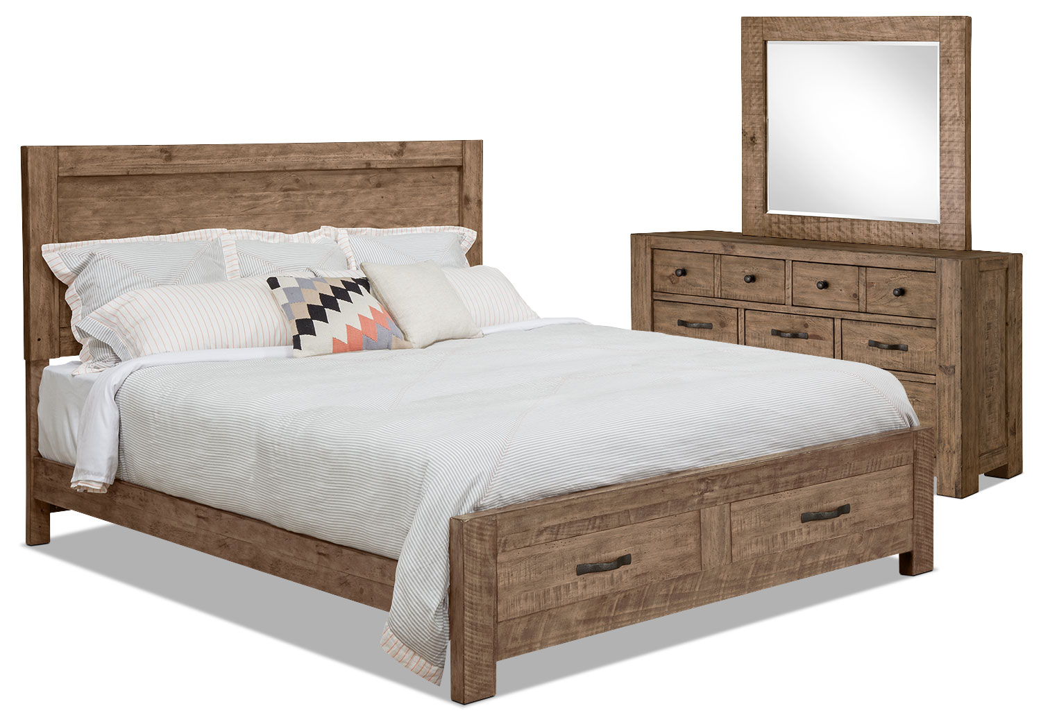 Griffith 5 piece queen storage bedroom package the brick for Bedroom furniture packages
