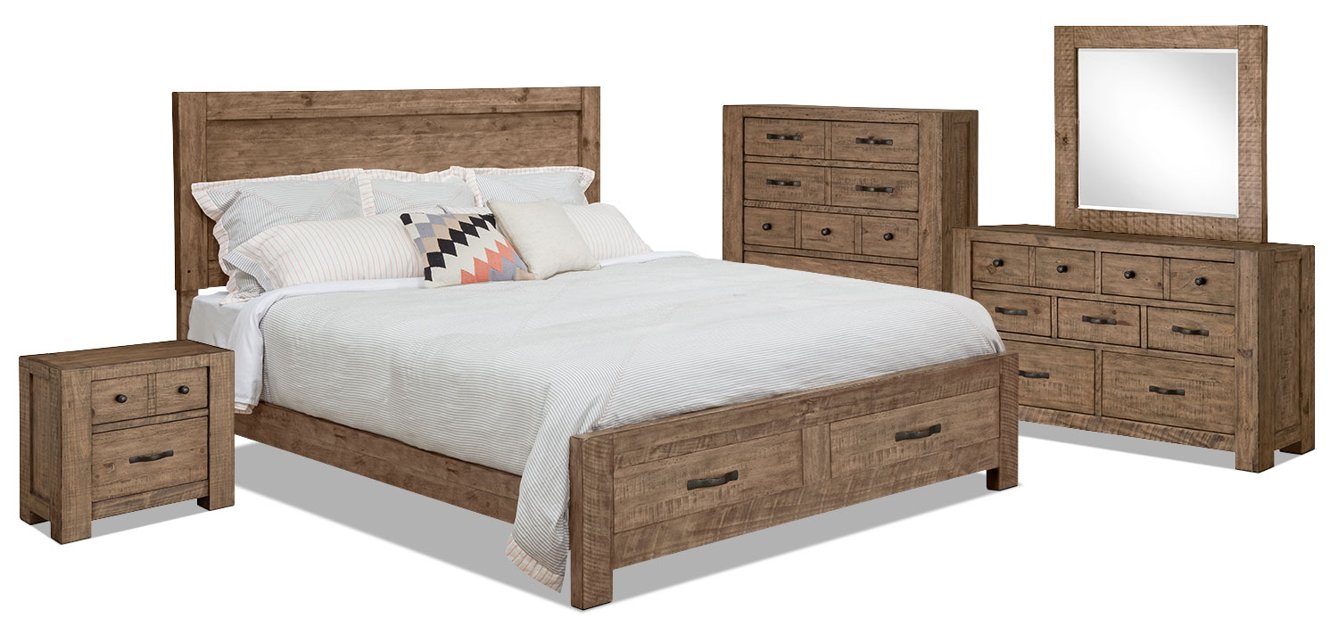 Griffith 7 piece queen storage bedroom package united for Bedroom furniture packages