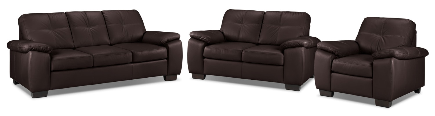 Naples Sofa, Loveseat and Chair Set - Chocolate