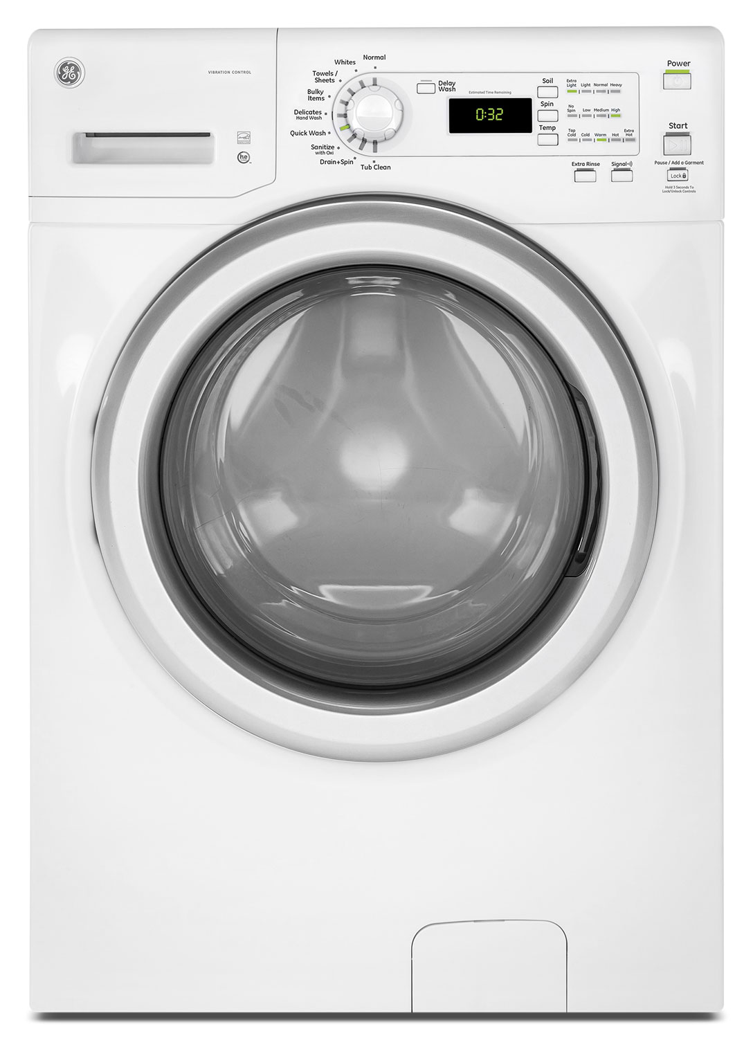 GE 4.8 Cu. Ft. Front-Load Washer – GFW400SCKWW