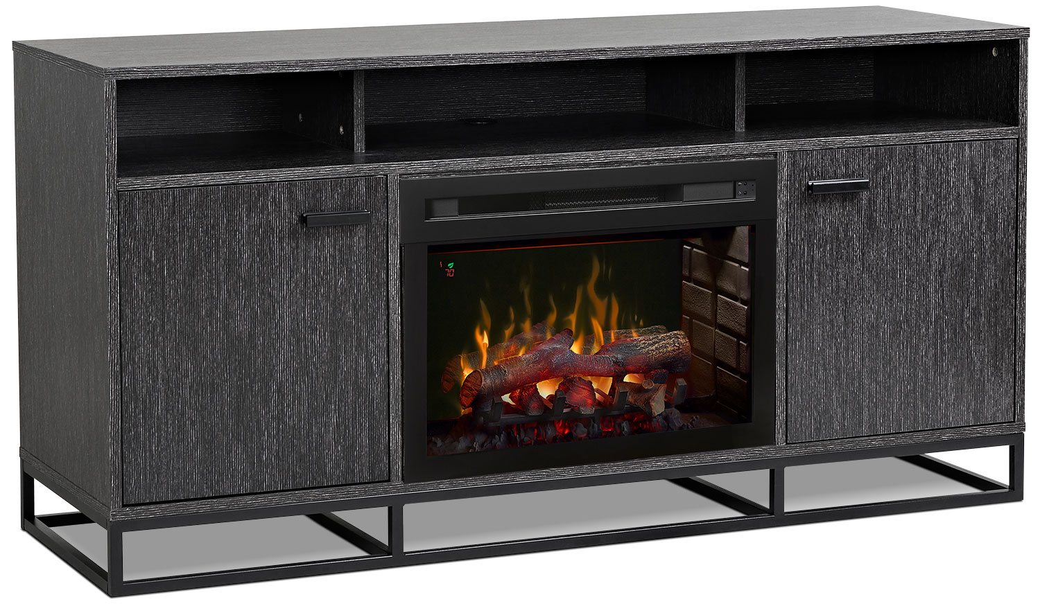 "Reily 64"" TV Stand with Log Firebox"