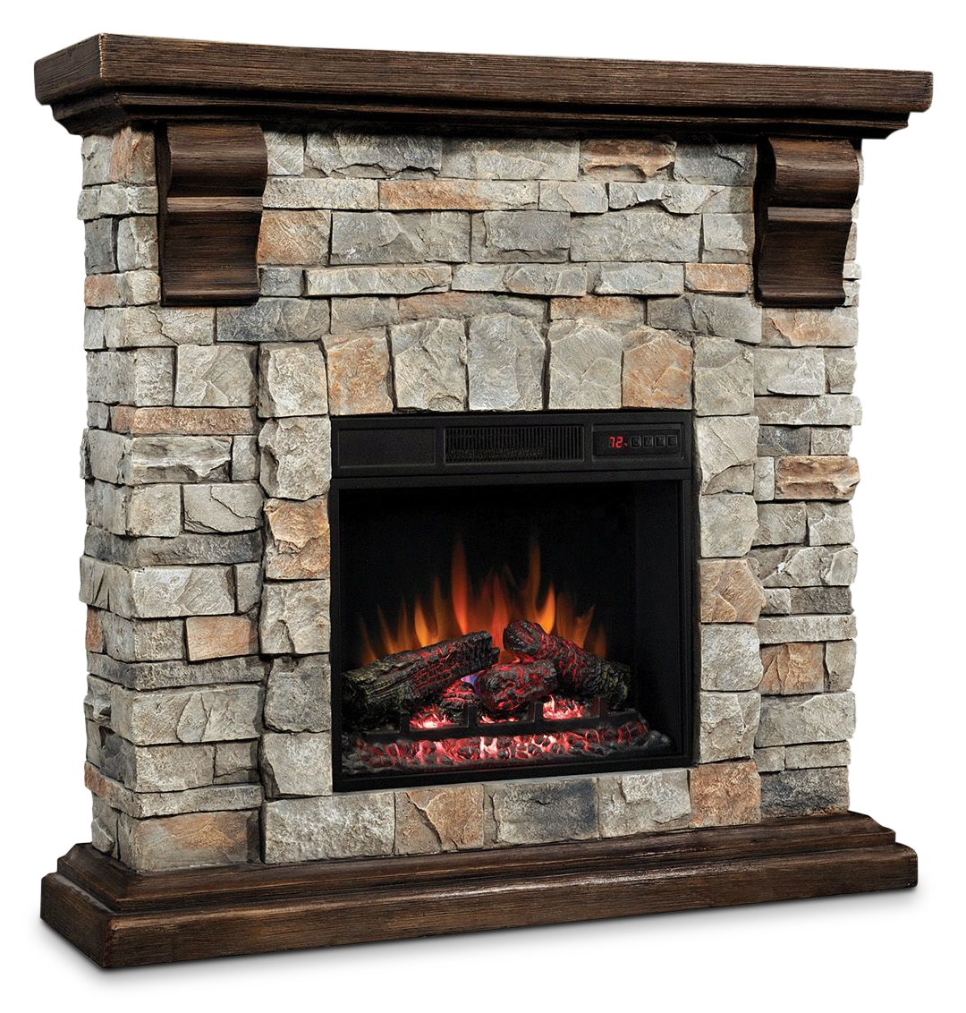 Pioneer Fireplace - Dark Pine with Faux Stone