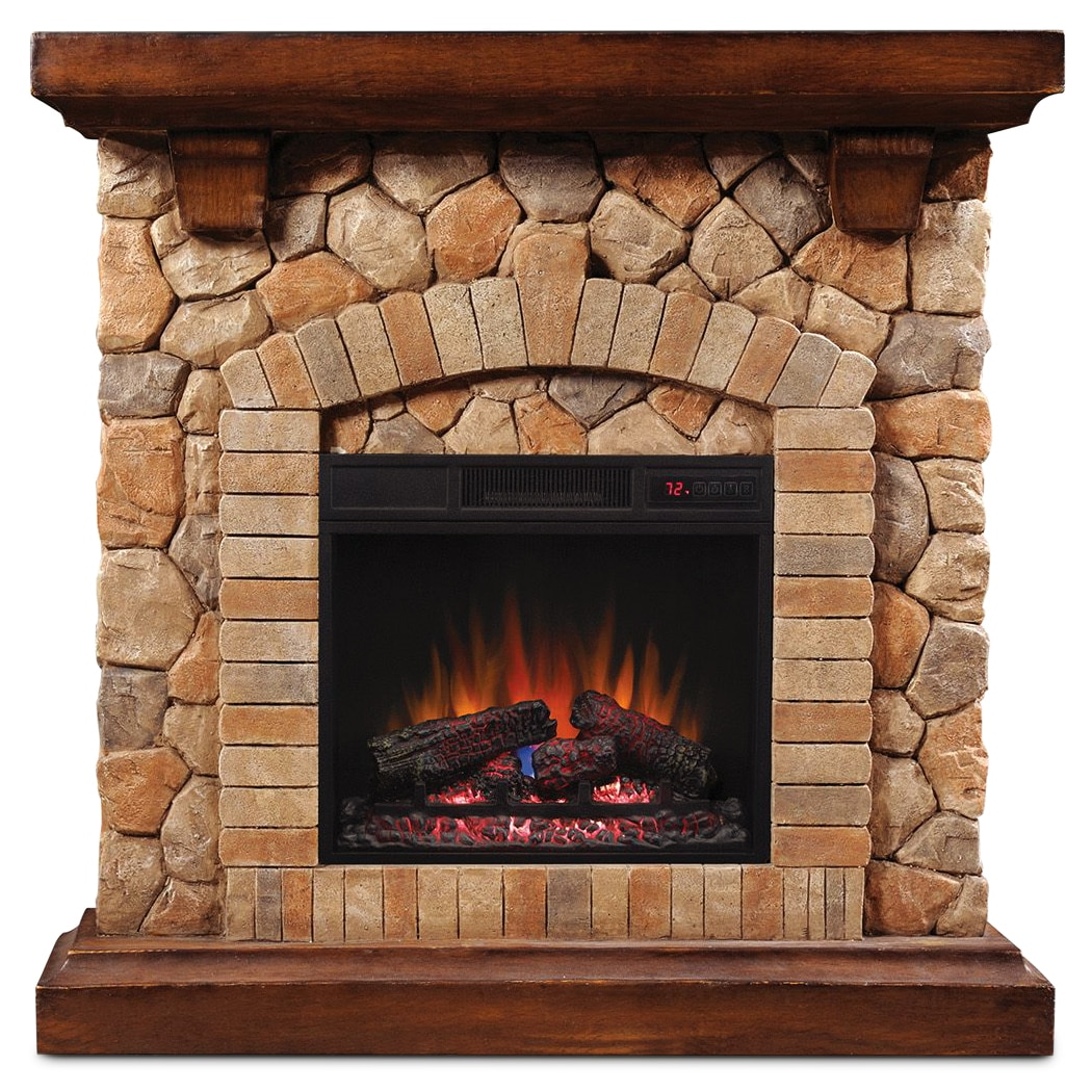 Tequesta Fireplace - Cherry with Faux Stone