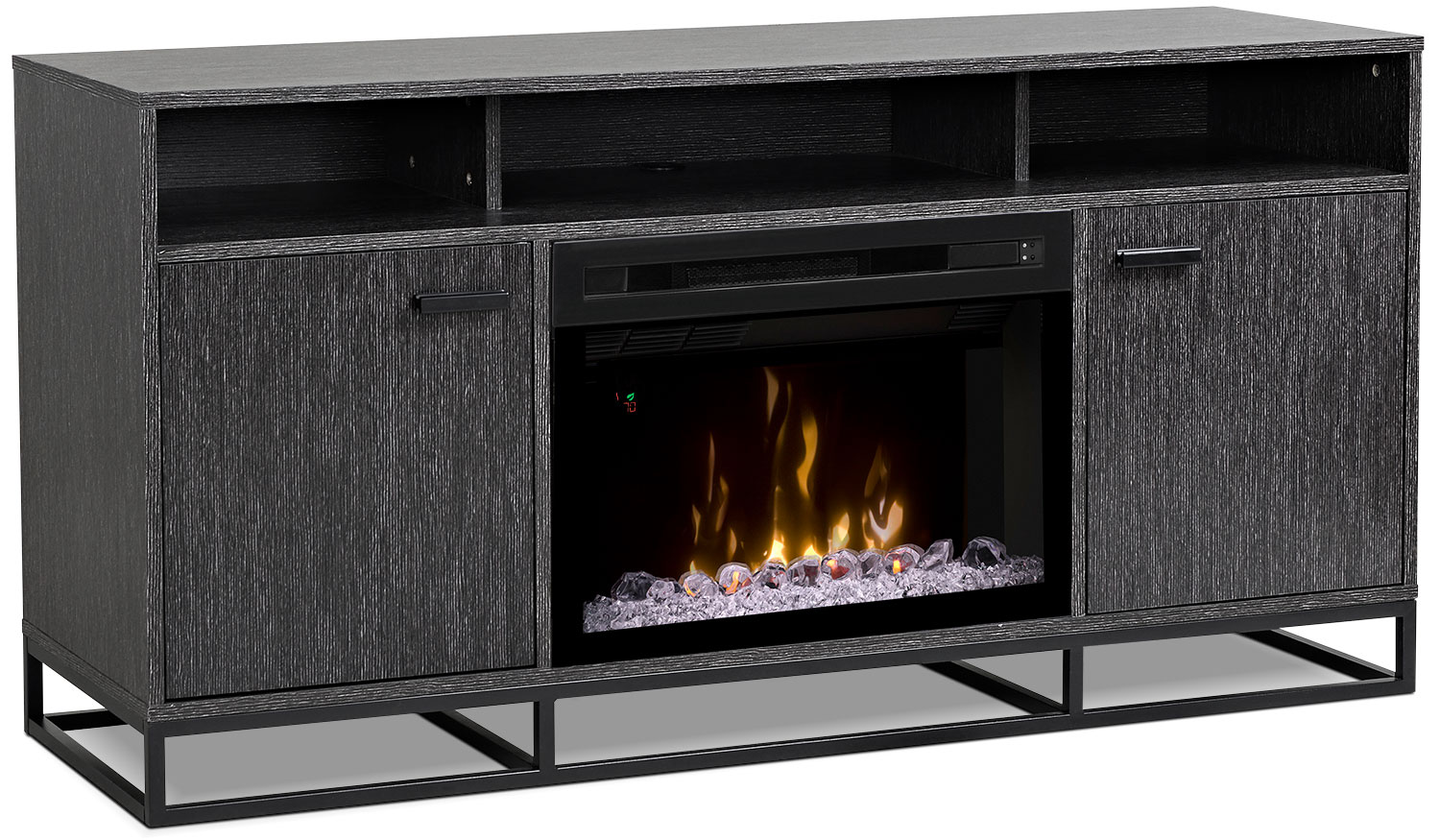 "Reily 64"" TV Stand with Acrylic Ice Firebox"