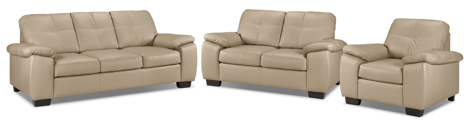 Naples Sofa, Loveseat and Chair Set - Warm Beige