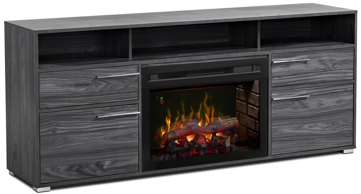 "Sander 66"" TV Stand with Log Firebox"