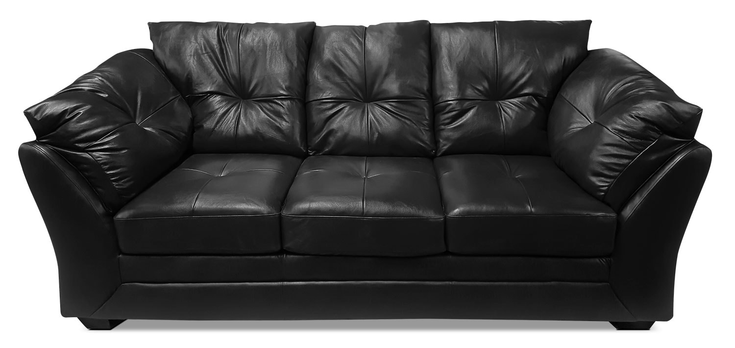 Living Room Furniture - Max Genuine Leather Full-Size Sofa Bed – Black