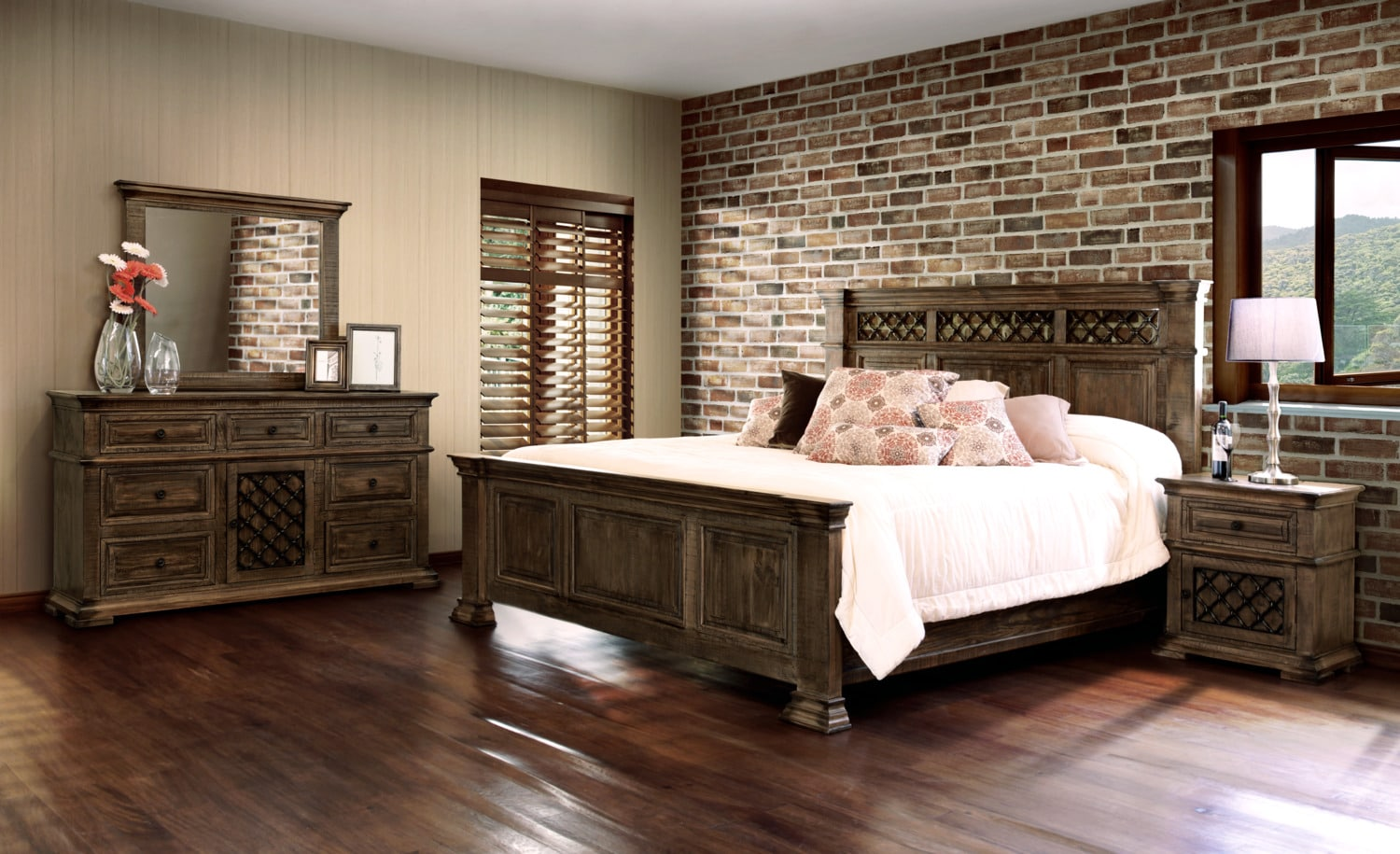 furniture monterry 5 piece king bedroom set brown driftwood