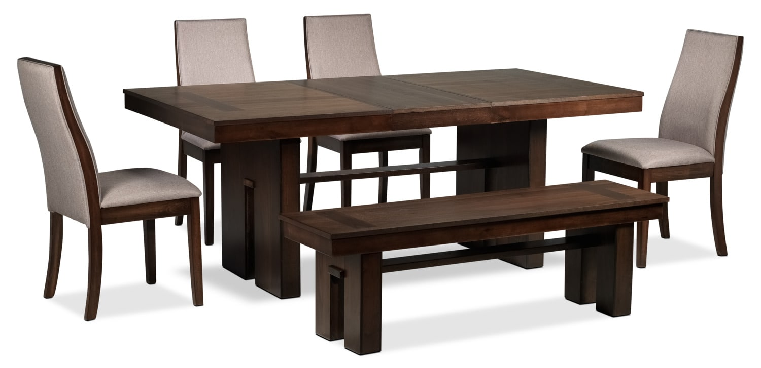 Lena 6 piece dining room set cherry leon 39 s for Dining room sets 6 piece