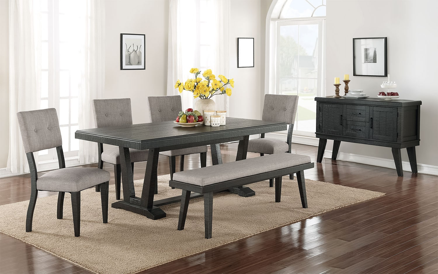 Imari 7 piece dining room set black and grey leon 39 s for Living room ideas with dining table