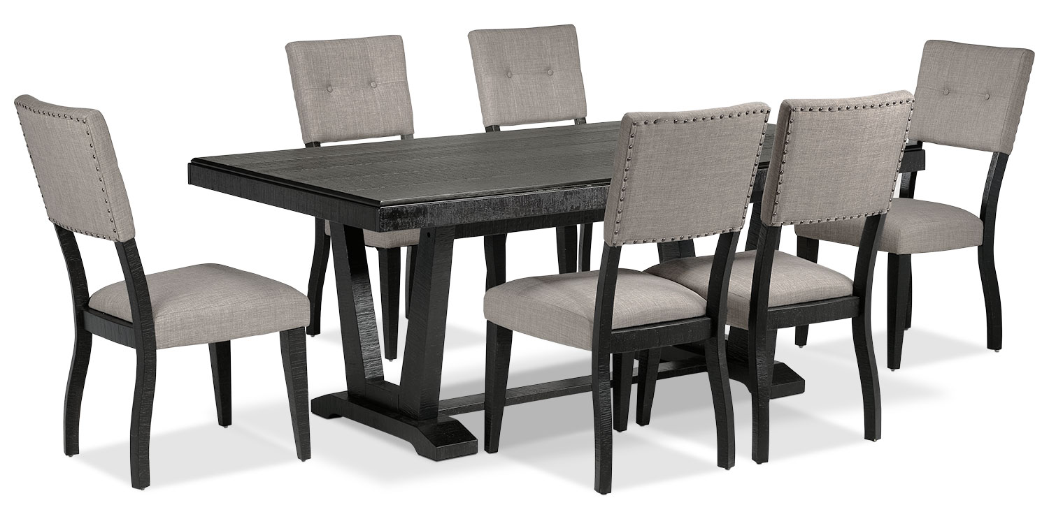 Imari 7 piece dining room set black and grey leon 39 s for Black dining room set