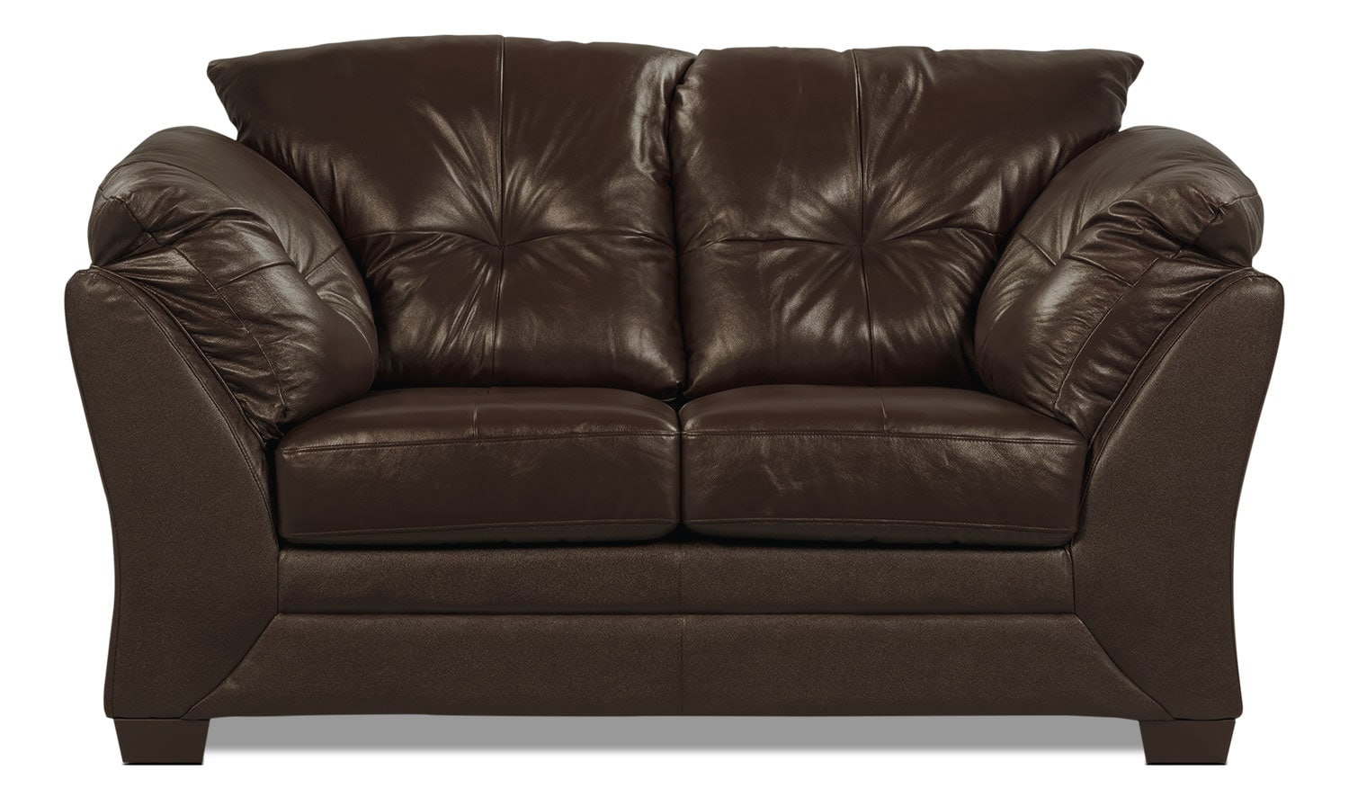 Max Genuine Leather Loveseat – Brown