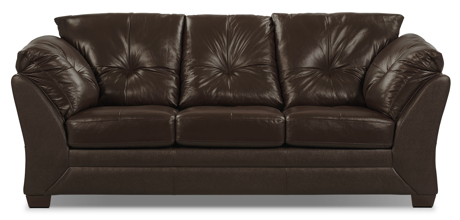 Living Room Furniture - Max Genuine Leather Sofa - Brown