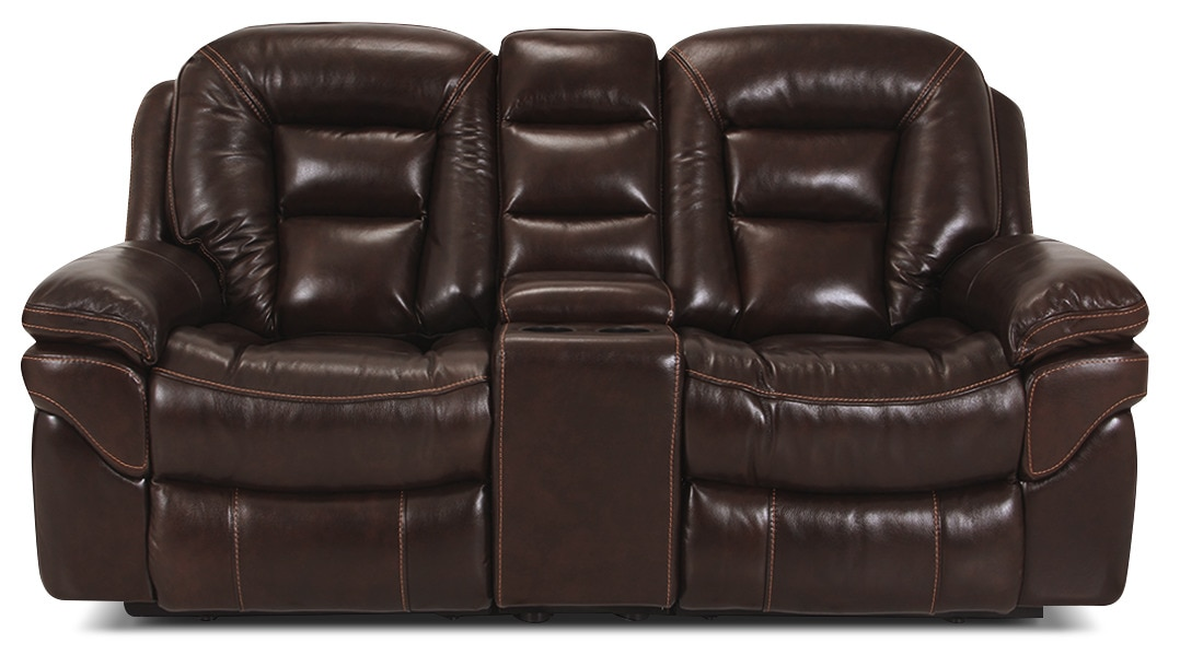 Living Room Furniture - Leo Genuine Leather Power Reclining Loveseat – Walnut