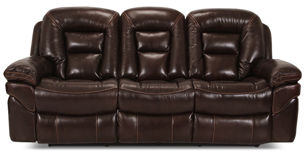 Living Room Furniture - Leo Genuine Leather Reclining Sofa – Walnut