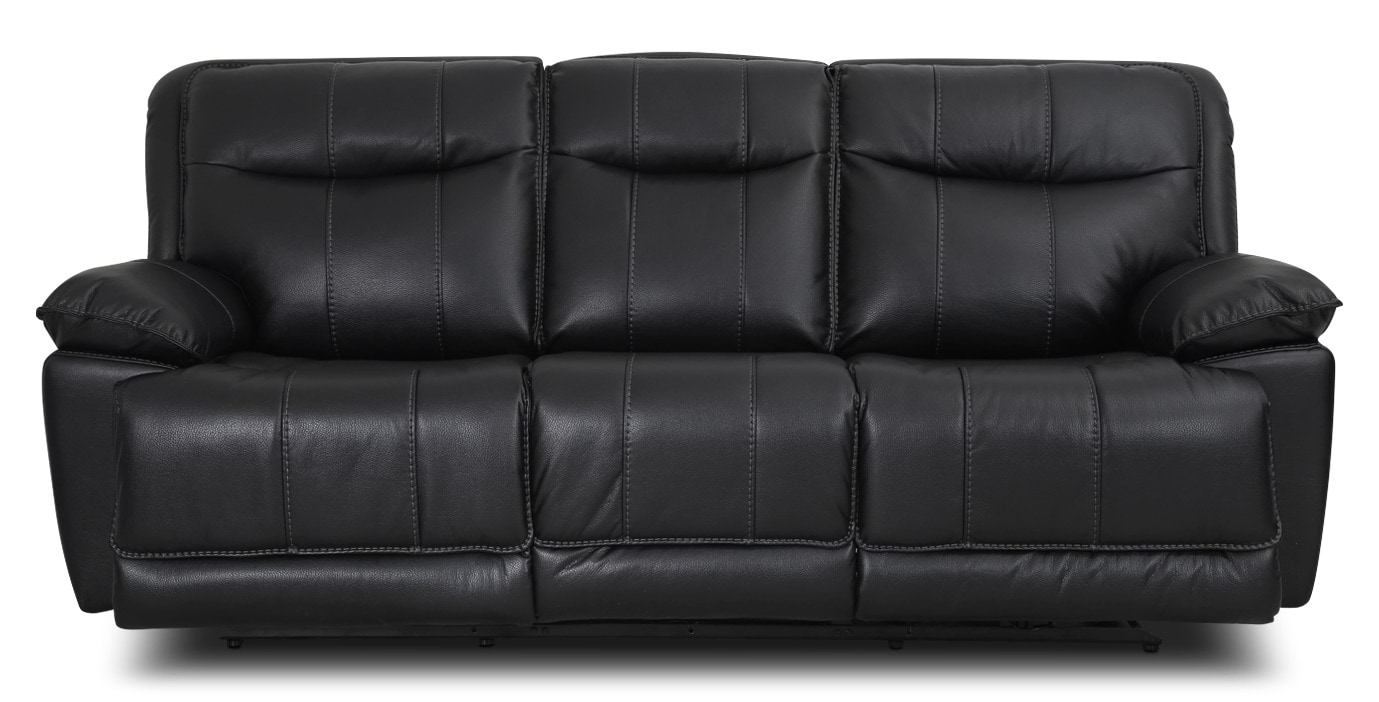 Matt Leather-Look Fabric Reclining Sofa – Black