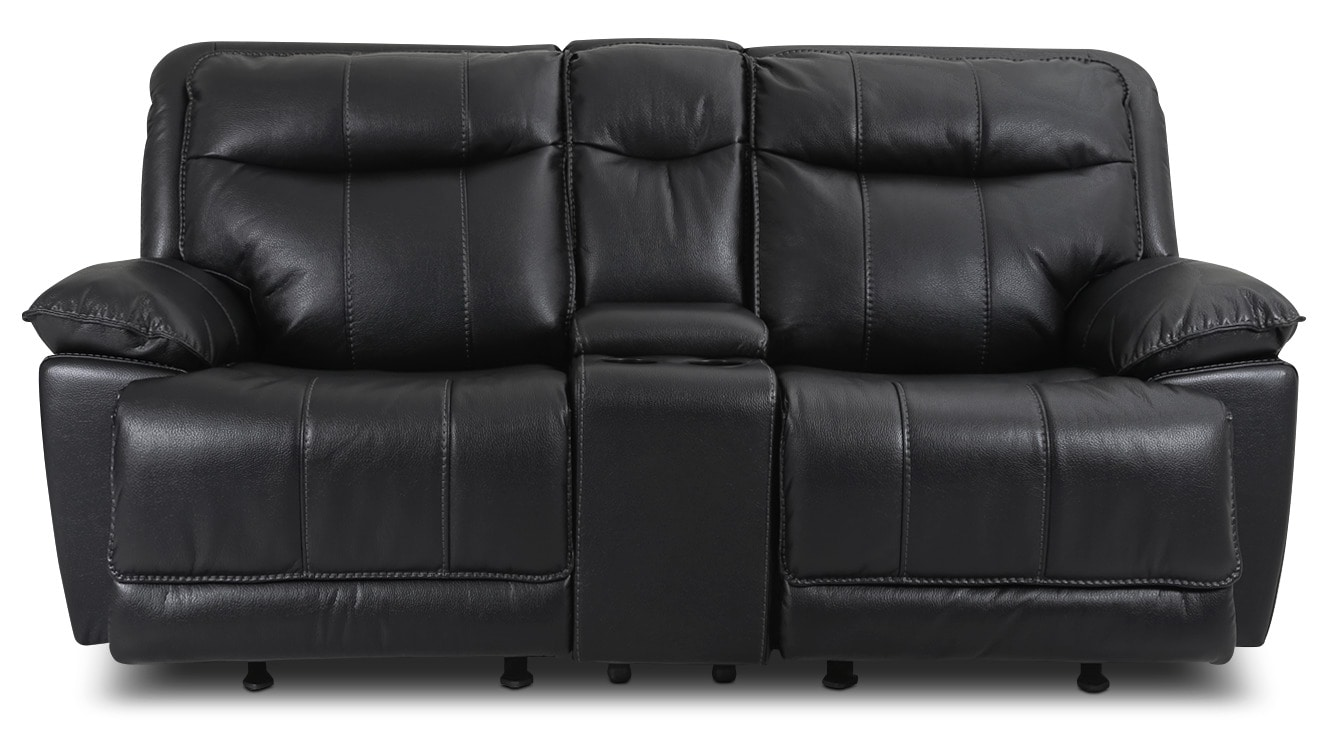 Living Room Furniture - Matt Leather-Look Fabric Power Reclining Loveseat – Black