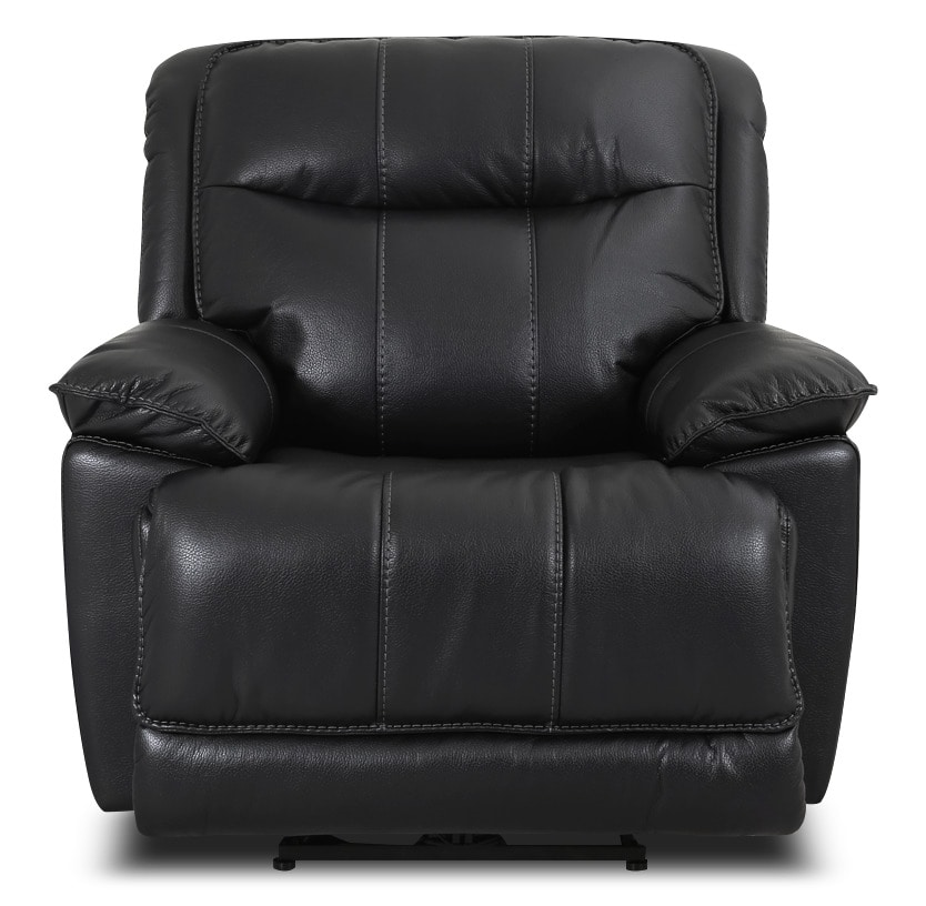 Matt Leather-Look Fabric Power Reclining Chair – Black