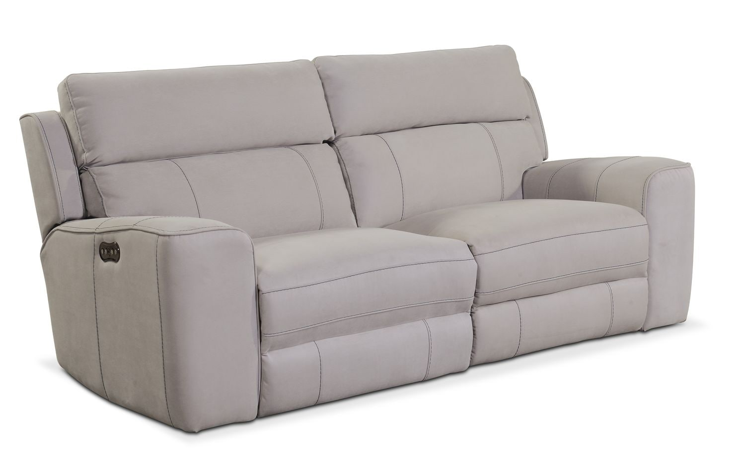 newport 2 piece power reclining sofa light gray american signature furniture. Black Bedroom Furniture Sets. Home Design Ideas
