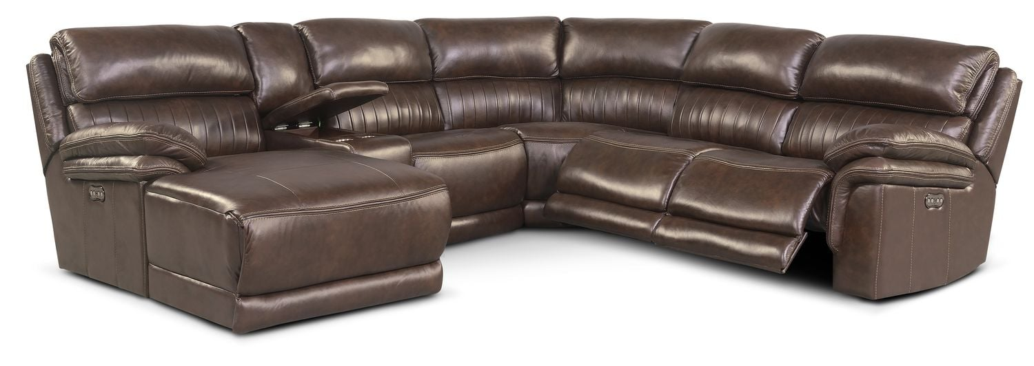 Monterey 6 piece power reclining sectional with left for Power reclining sectional sofa with chaise