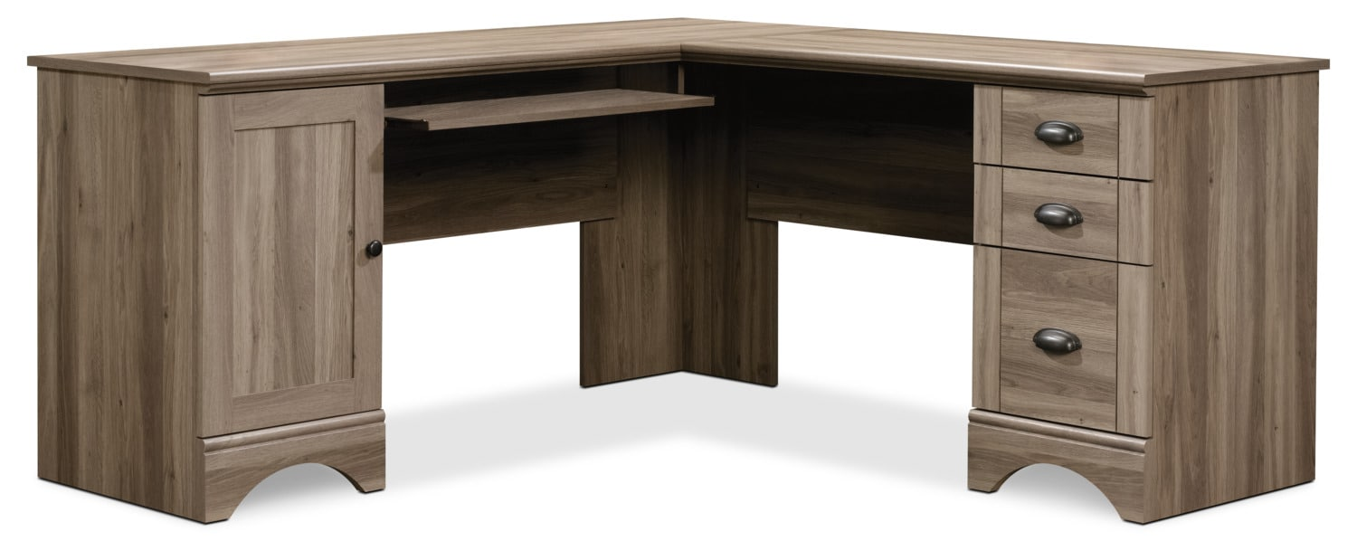 Harbor view corner desk salt oak united furniture for Furniture oak harbor