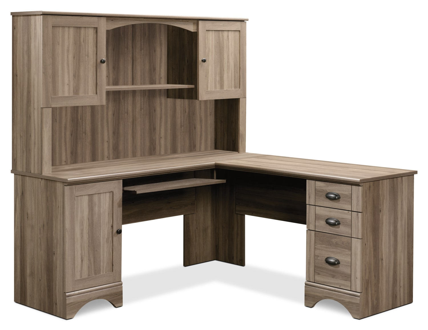 Harbor View Corner Desk with Hutch – Salt Oak