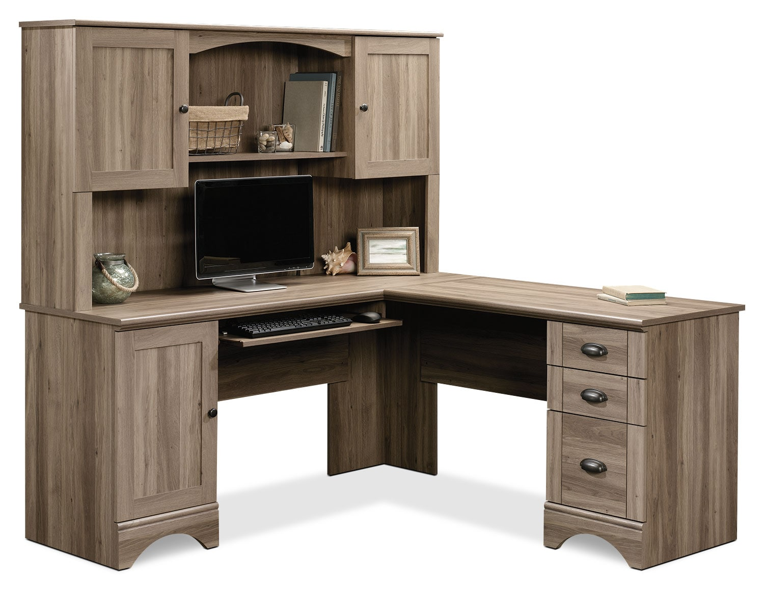 harbor view corner desk with hutch – salt oak  the brick - click to change image